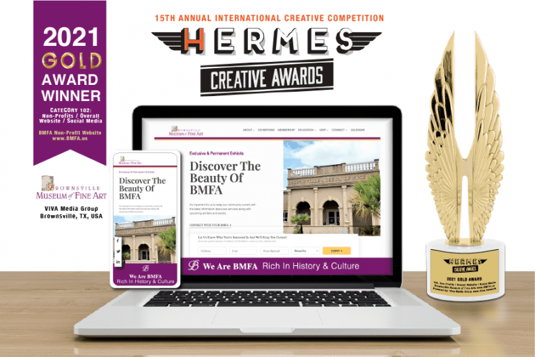 """Viva Media Group Wins """"Gold Wings"""" Award For Brownsville Museum of Fine Art Website, in the 2021 International Hermes Digital Creative Competition!"""