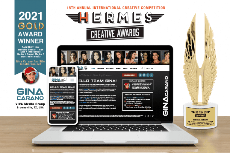 GinaCarano.net Wins Gold Hermes Digital Website Creative Award! Viva Gina Carano!