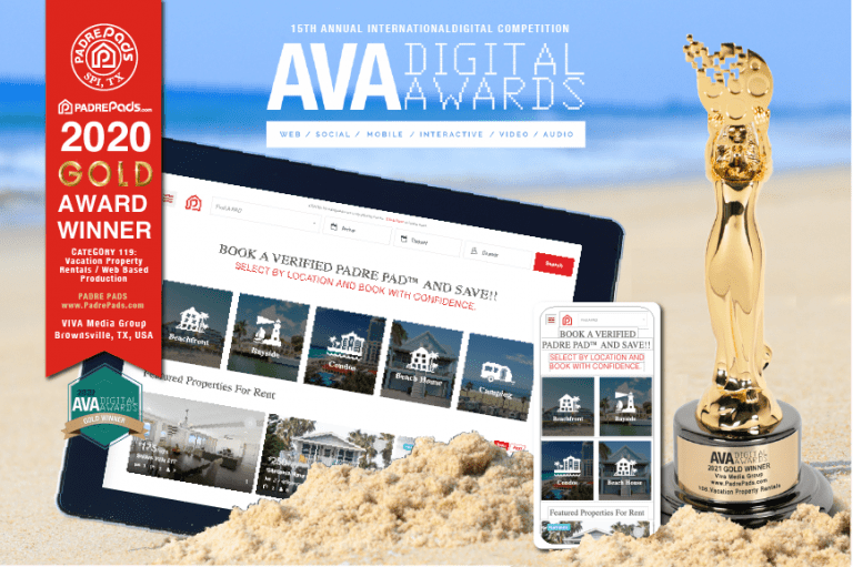 New PadrePads.com Vacation Property Rental Co. On South Padre Island Wins Gold In 2020 AVA Digital Awards for Vacation Property Rental Website By Locals Viva Media Group!