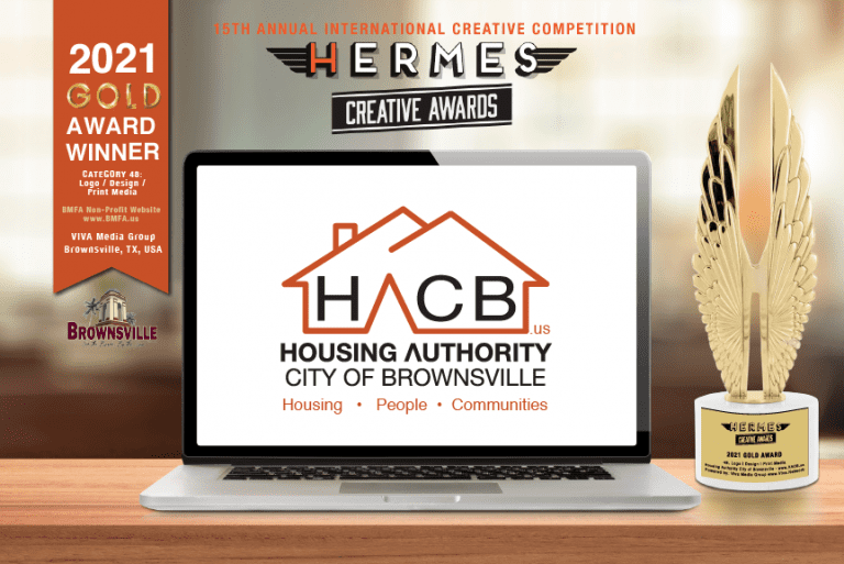 """Viva Media Group Brings Home Another """"Gold Wings"""" Award For Housing Authority City of Brownsville Logo, in the 2021 International Hermes Digital Creative Competition!"""